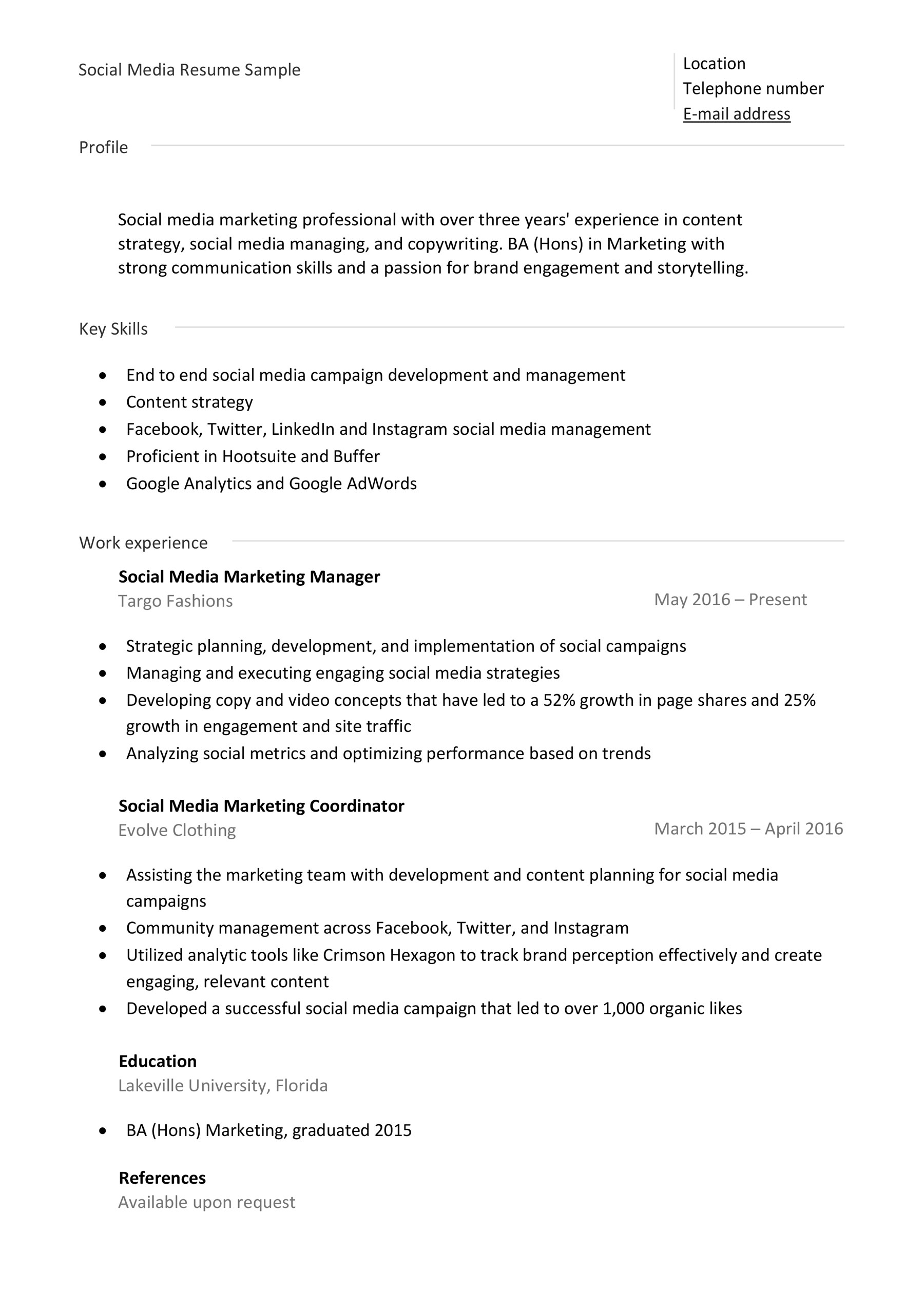social media resume samples examples tips