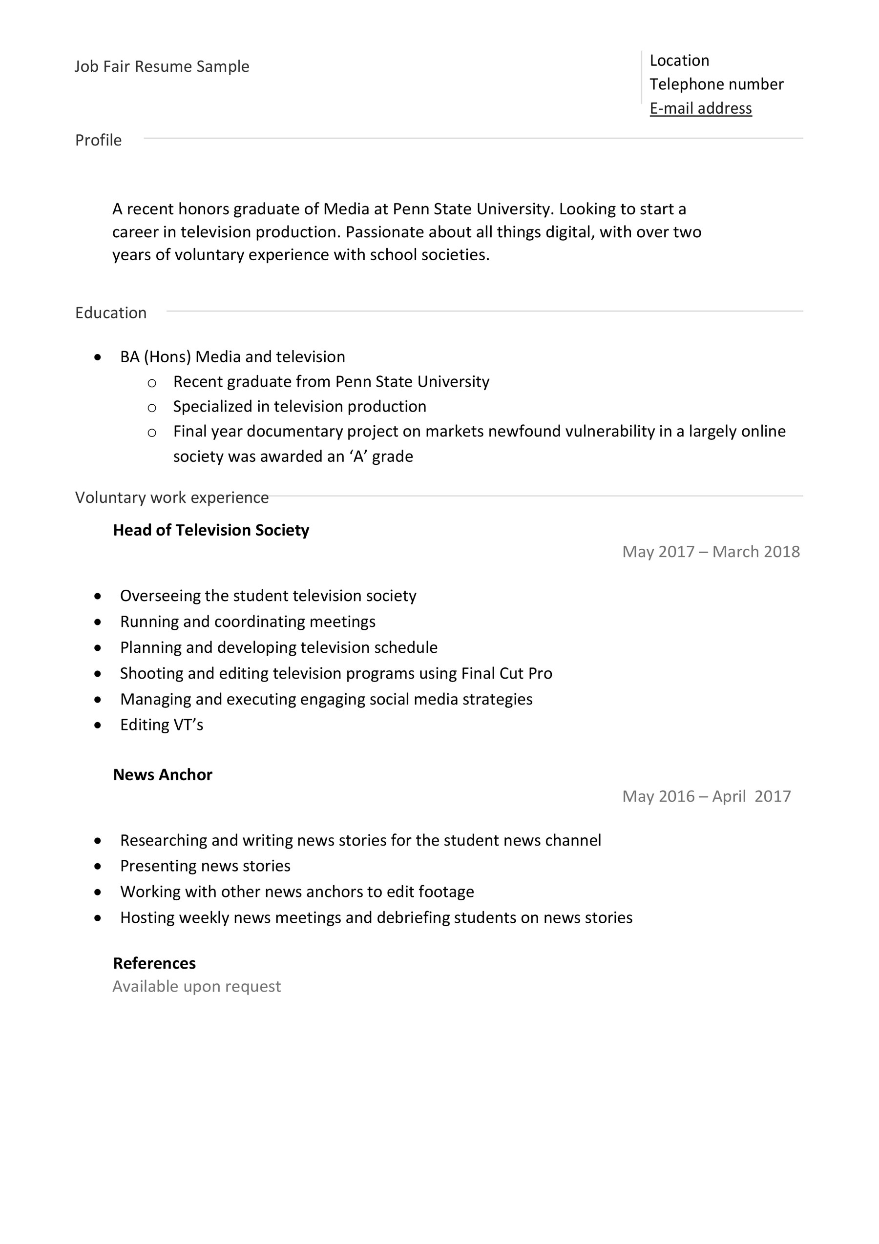 Job Fair Resume Example