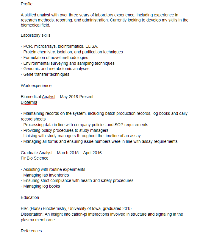 science cv example