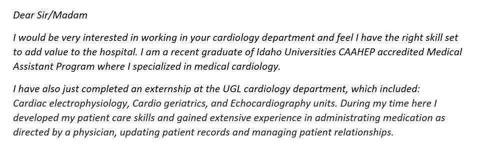 Medical Assistant Cover Letter Entry Level