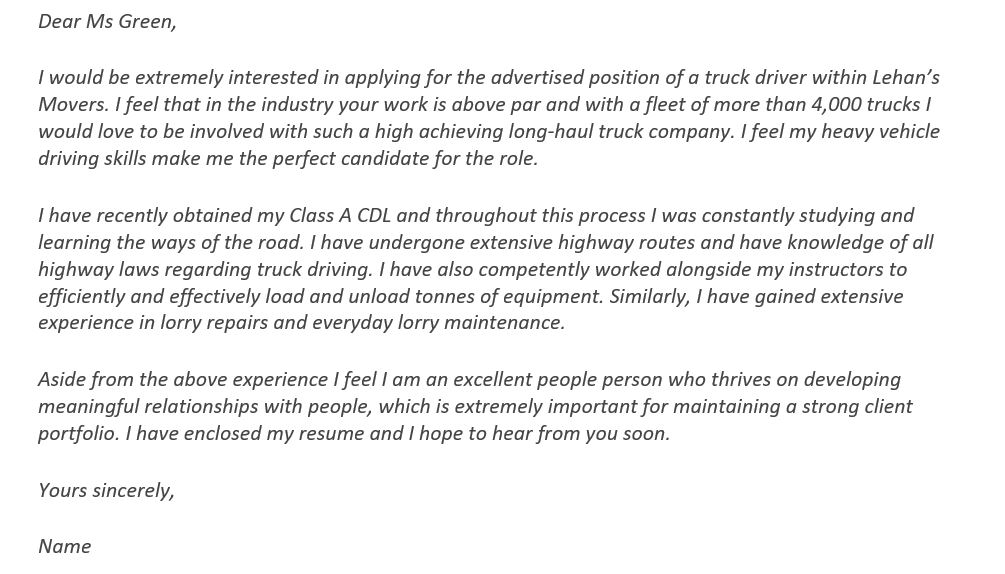 cover letter for driving job With no Experience